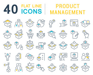 Set Vector Line Icons of Product Management