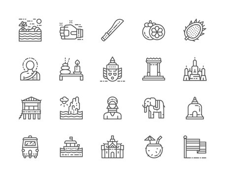 Set of Thailand Culture Line Icons. Machete, Muay Thai, Mangosteen and more.