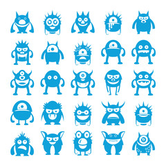 blue monster character icons, cartoon set