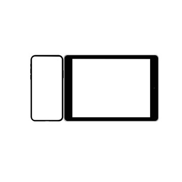 set of modern tablet and mobile phone  isolated