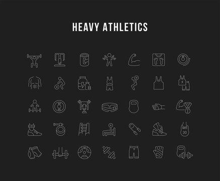 Set Vector Line Icons of Heavy Athletics