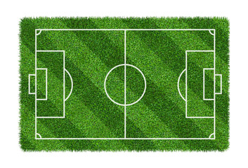 Football field or soccer field on green grass pattern texture isolated on white background.