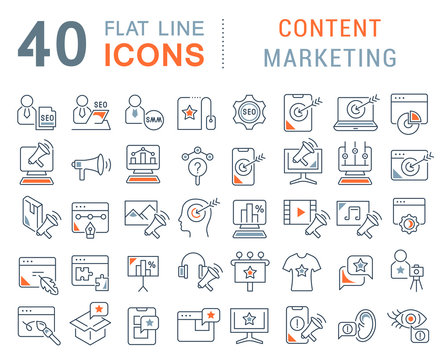 Set Vector Line Icons of Content Marketing