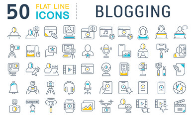 Set Vector Line Icons of Blogging