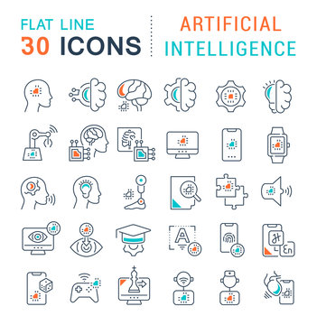 Set Vector Line Icons of Artificial Intelligence