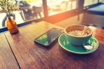 cafe with smartphone and Coffee cup