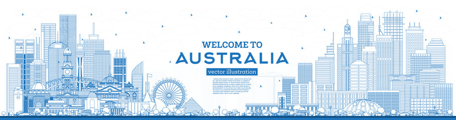 Outline Welcome to Australia Skyline with Blue Buildings.