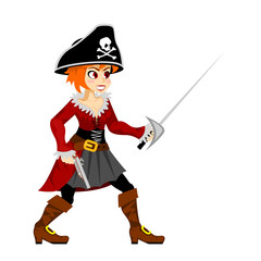 Pirate girl costume masquerade teen party female rpg game character design vector illustration