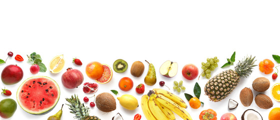 In de dag Keuken Banner from various fruits isolated on white background, top view, creative flat layout. Concept of healthy eating, food background. Frame of fruits with space for text.