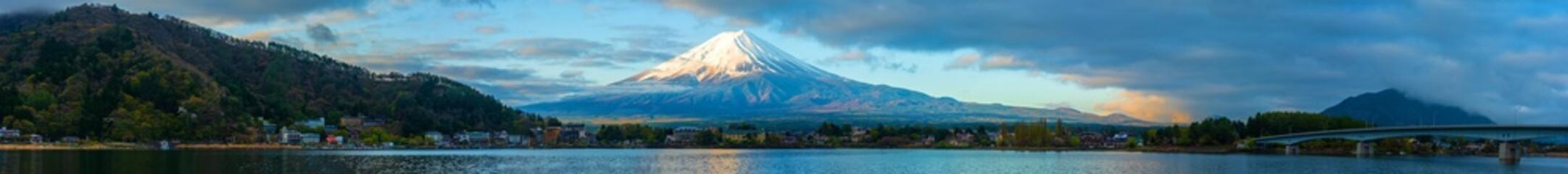 Panorama image of Mount Fuji and Lake.