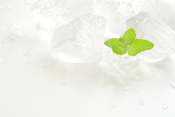 Ice cubes and mint leaf