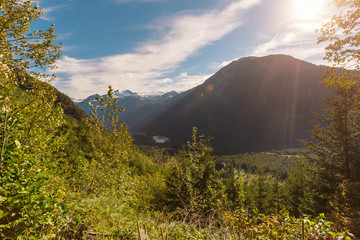 Fotobehang Zonsondergang Mountains in Canada