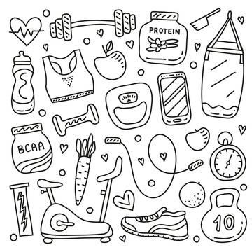Set of doodle outline gym and fitness icons isolated on white background.