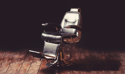 Barbershop armchair, modern hairdresser and hair salon, barber shop for men. Beard, bearded man. Stylish vintage barber chair. Professional hairstylist in barbershop interior. Barber shop chair. Wall mural