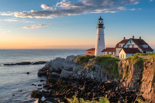 Portland Lighthouse at sunrise in Maine, New England.