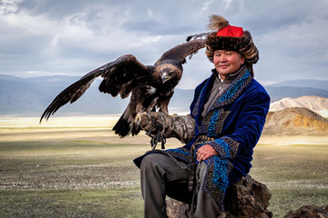 Mongolian Eagle Hunter with His Eagle, Bayan-Olgii, West Mongolia