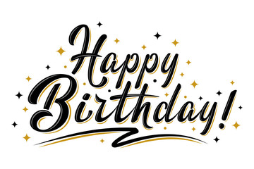 Happy Birthday sign. Hand drawn modern brush lettering with golden stars. For holiday design, postcard, banner, poster, party invitation, T-shirt print design. Isolated vector illustration