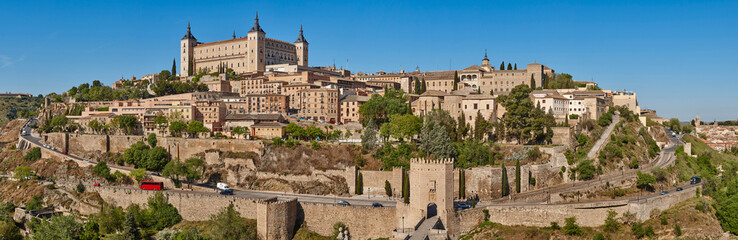 Toledo medieval city panoramic view. Spanish traditional old town