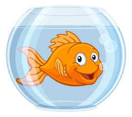 A goldfish in a gold fish bowl happy cute cartoon character