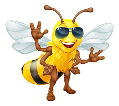 A cool bumble bee cartoon character in sunglasses or shades standing and waving
