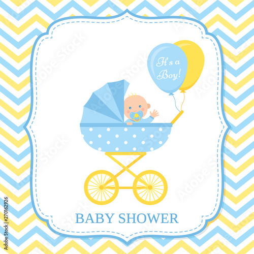 Baby Boy Invite Card Vector Baby Shower Invitation Blue