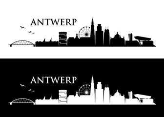 Fototapete - Antwerp skyline - Belgium - vector illustration - Vector