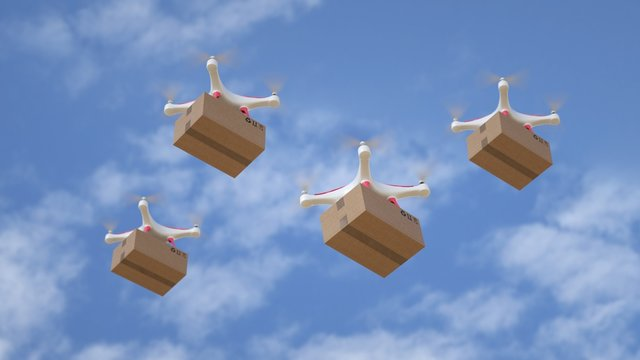 Drone fleet delivering urgent orders by air.