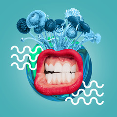 Big female mouth with the white teeth and red lips. Blue flowers and drawn waves against ocean blue...