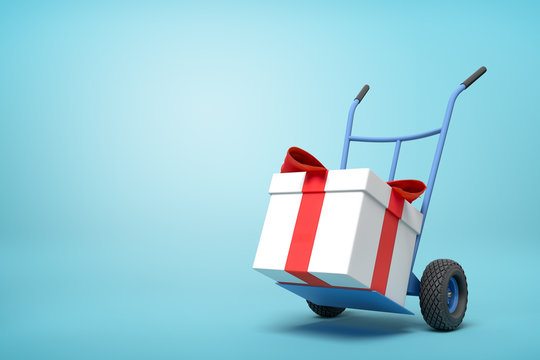 3d rendering of blue hand truck with big white gift box tied with red ribbon on top on light-blue background with copy space.