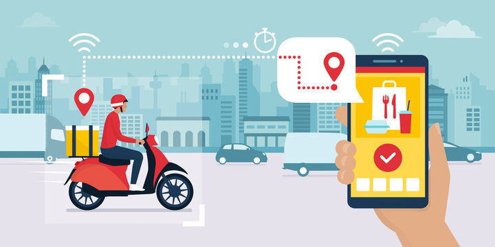 Fast food delivery app and delivery man