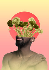 Male body of african-american model with the head full of thoughts about flowers and sunrise....