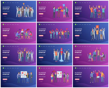 Business startup teamwork, people holding prize for successful achievement, presentation on whiteboard, team celebration of success, rocket launching. Website template, landing page flat style