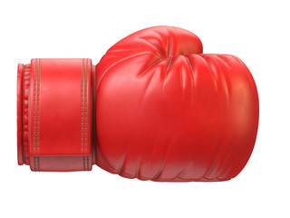 Red boxing glove isolated on white background 3d rendering