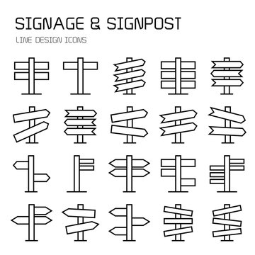 signpost, billboard, signage and road sign line icons
