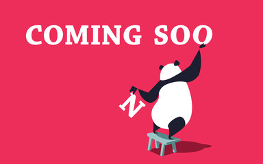 Cute panda standing on the bench and placing letters. Coming soon banner template.