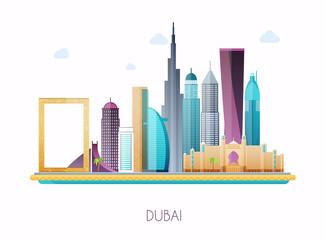 Dubai. Skyline and vector landscape of buildings and famous landmarks.