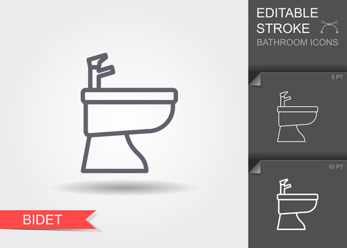 Bidet. Line icon with editable stroke with shadow