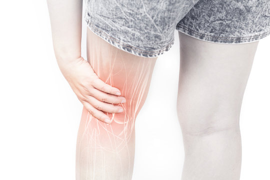 Leg muscle pain white background leg injury