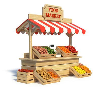 Food market kiosk, farmers shop, farm food stall
