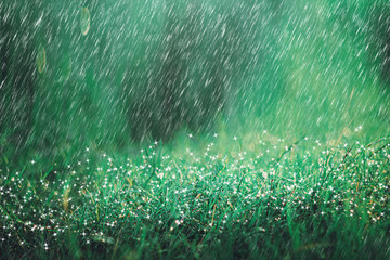 Heavy rain shower on meadow background with sparkle and bokeh. Raining in nature backdrop.