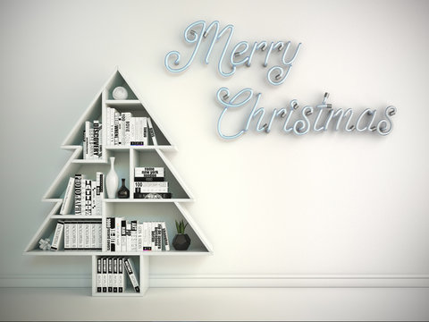 Christmas card, book shelf in form of the Christmas tree and neon Merry Christmas lights on the wall, 3d rendering