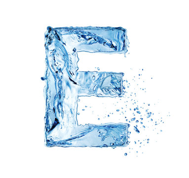 letter E made of water splash isolated on white background