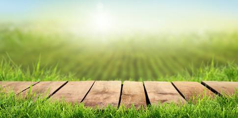 Fototapeta A wooden table with a sunny summers farmland background obraz