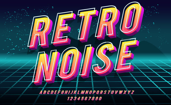 Retro Noise. 3D bold font in 1980s style. Illustration of 1980 retro neon poster. Futuristic landscape.