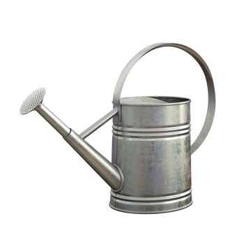 Watering can, shiny aluminum gardening tool isolated on white background 3d rendering