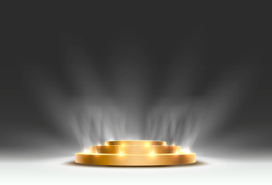 The gold podium is winner or popular on the gray background.