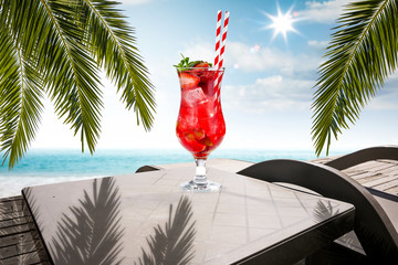 Table background of free space for your decoration and summer beach landscape