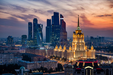 Tuinposter Moskou Aerial View of Moscow City Skyline at Sunset, Moscow, Russia
