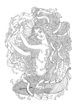 Vector drawing fantastic sea mermaid sitting with wavy developing hair and long tangled ribbon.  Ornamental decorated graphic Coloring page sea nymph. Design card, print on t-shirt on white back.