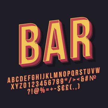 Bar 3d vintage vector lettering